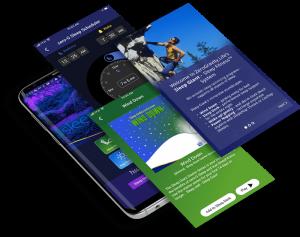 See Sleep Giant app Home screen, zeroG Sleep Scheduler, Wind Down Starter, App tour page